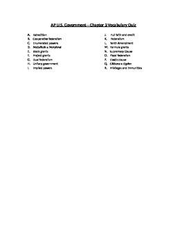 AP Government Federalism Vocabulary Quiz