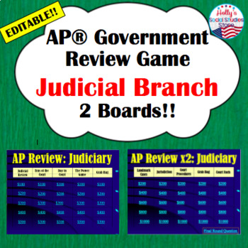 AP* Government Review Game- Judicial Branch (editable)
