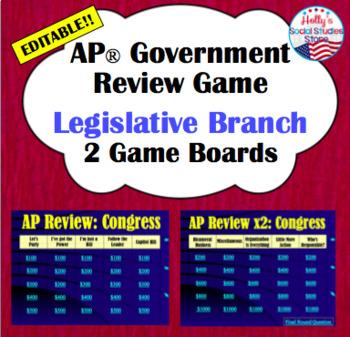 AP Government Review Game: Legislative Branch (editable)