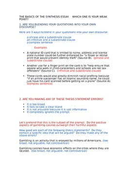 AP LANGUAGE AND COMPOSITION SYNTHESIS ARGUMENT ESSAY COMMO