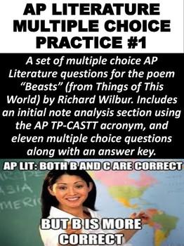 AP Literature Multiple Choice Question Practice #1