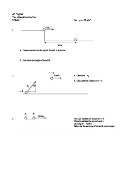 AP Physics Two Dimensional Motion Worksheet