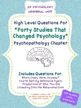 AP Psychology - 40 Studies Questions for Psychopathology A