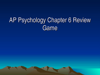 AP Psychology Chapter 6 Perception Review Game with Answer Key