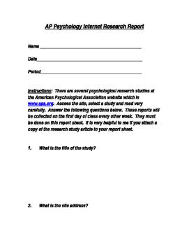 AP Psychology Internet Research Report