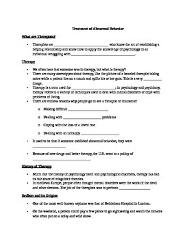 AP Psychology Unit 13: Treatment of Abnormal Behavior