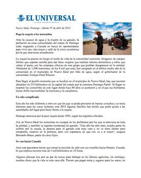 AP SPANISH Desafío mundial. Los menonitas en México y la sequía