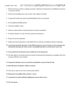 AP SPANISH LITERATURE AND CULTURE LITERARY TERMS