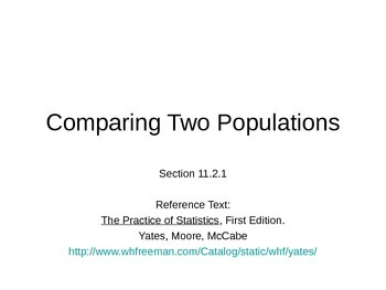 AP Statistics 11.2.1: Comparing Two Populations