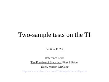 AP Statistics 11.2.2: Two-sample tests on the TI