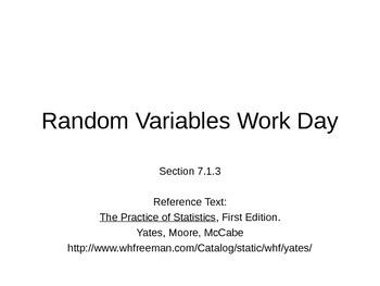 AP Statistics 07.1.3: Random Variables Work Day
