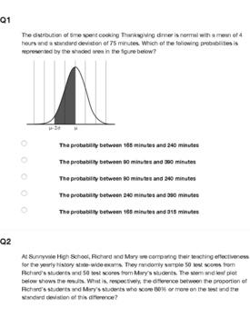 AP Statistics - Construct and Interpret Graphs Homework / Quiz