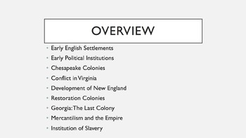 AP U.S. History Period 2 Notes and PowerPoint: Colonies an