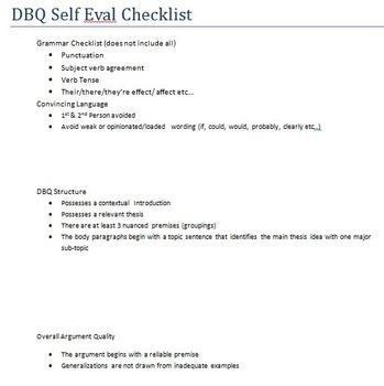 AP U.S. History DBQ Self Evaluation Checklist