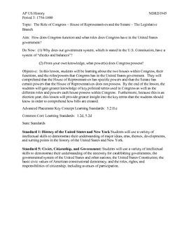 AP US History Period 3:  The Legislative Branch