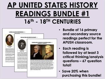 AP US History Readings Bundle #1 - 17th & 18th Centuries - APUSH