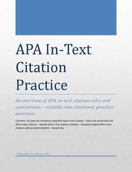 APA In-Text Citation Practice