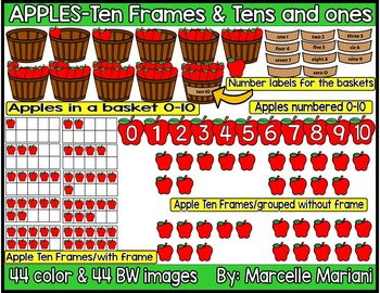 Place value & ten frames clipart-Apples