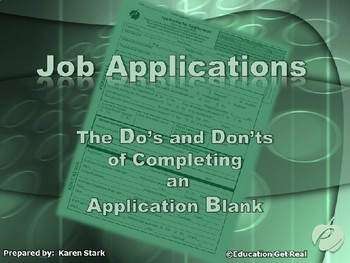 """APPLICATION BLANK POWERPOINT - """"Do's & Don'ts of Completin"""