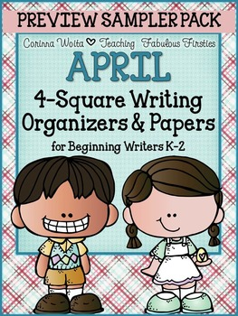APRIL 4-Square Writing Organizers & Papers for Beginning W
