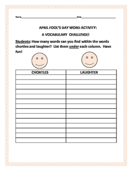 APRIL FOOL'S DAY WORD CHALLENGE