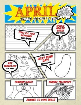 APRIL LITERACY MATH & COLORING Comic Activity Book (Kindergarten)