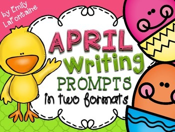 APRIL Writing Prompts (30 count) - task cards and posters!