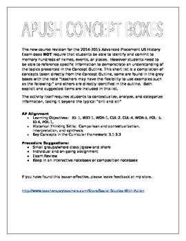 APUSH Concept Boxes for the 2015 Course Revision
