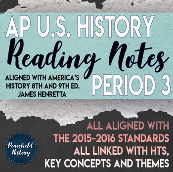 APUSH Period 3 Guided Reading Worksheets America's History