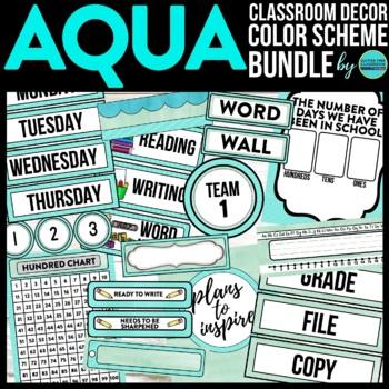 AQUA MODERN PATTERN Classroom Decor-EDITABLE Clutter-Free