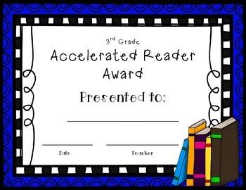 Accelerated Reader AR Award 3rd Grade