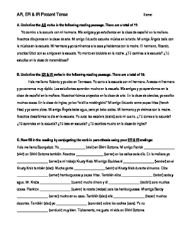 AR, ER, IR Regular Present Tense Verbs Reading Worksheet