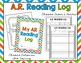 AR Reading Packet - Accelerated Reader Logs, Bookmarks, Po