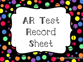 Accelerated Reader (AR) Record Sheet