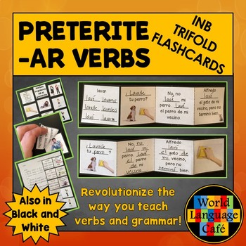 AR Preterite Verbs Interactive Notebook Trifold Flashcards
