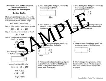 AREA Problem Solving Mini Lessons & Homework Review: Recta