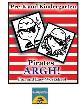 ARGH! Pre-K and Kindergarten Pirate Themed Worksheet