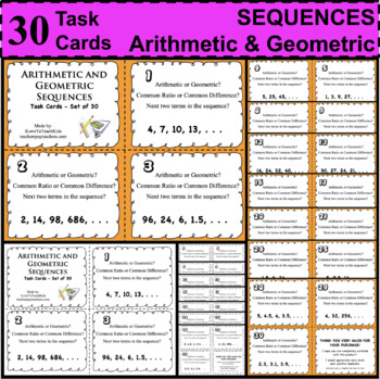 ARITHMETIC & GEOMETRIC SEQUENCES Task Cards Stations