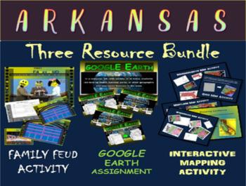 ARKANSAS 3-Resource Bundle (Map Activty, GOOGLE Earth, Fam