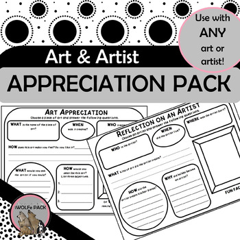 ART APPRECIATION & ARTIST REFLECTION PACK simple exercises