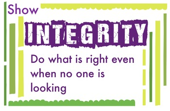 ART Character Education Posters - Integrity