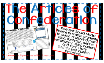 ARTICLES OF CONFEDERATION American Revolution