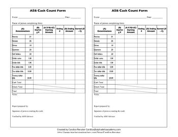 ASB Cash Count Form