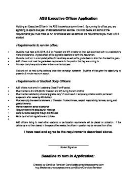 ASB Executive Officer Application