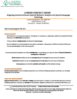"""ASHA 2014 Handout """"A More Perfect Union: Aligning Practice"""