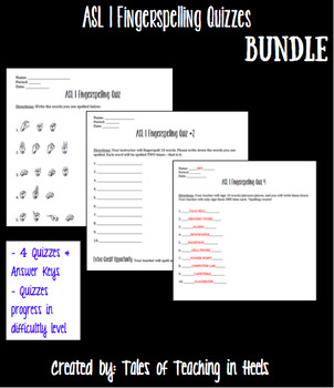 ASL 1 Fingerspelling Quizzes Bundle