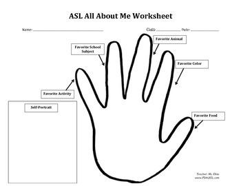 ASL All About Me Worksheet