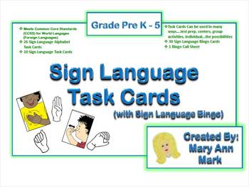 ASL American Sign Language Task Cards and Sing Language Bingo