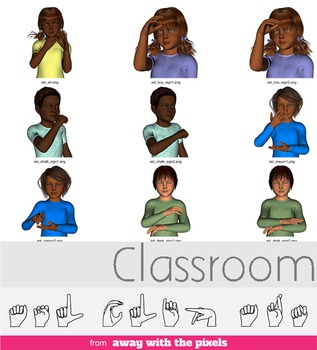 ASL Clip Art For Commercial Use - Classroom Signs Pack Rea