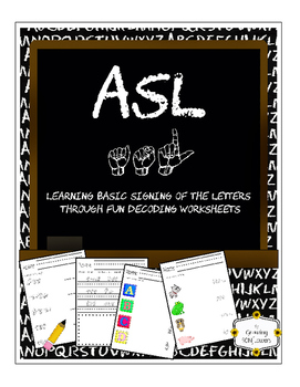 ASL Decoding Worksheets to teach/reinforce basic Signing o